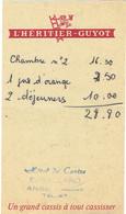 """Pub """"Cassis L'Héritier Guyot"""" Sur Ancienne Facture De L'Hôtel Du Centre, Anse (Rhône) (vers 1975) - Sports & Tourisme"""