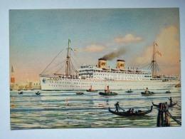 NAVE SHIP MARCO POLO Adriatica Venezia Lloyd Klodic Trieste Paquebot Liner Vecchia Cartolina - Piroscafi