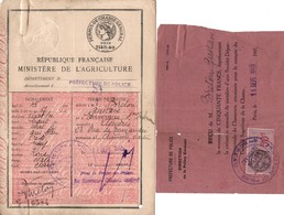 PERMIS DE CHASSE GENERAL 1945 PREFECTURE POLICE - Documents Historiques