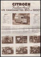 DEPLIANT    CITROEN    TRACTION   AVANT       LES CAMIONNETTES  850  ET 1200 KG - Vieux Papiers
