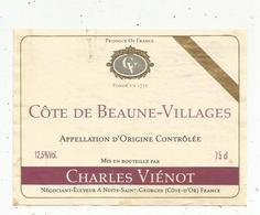 étiquette De Vin , Bourgogne , COTE DE BEAUNE-VILLAGE ,C. Viénot , Nuits Saint Georges , Côte D'or - Bourgogne