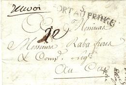 """1784- Lettre Locale De PORT AU PRINCE Au Cap  TAXE 2 E + """" Renvoi """" - 1792-1815: Départements Conquis"""