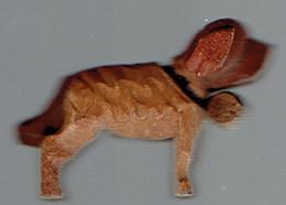 Chien Dog Hond Perro Petit Saint-Bernard (avec Son Tonneau) En Bois Sculpté - Wood
