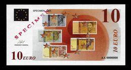 """Test Note """"EZB - ECB 1998"""" Testnote, Typ A, 10 EURO, SPECIMEN, Beids. Druck, RRR, UNC - EURO"""