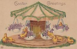¤¤  -  Carte Gauffrée   -  Pâques   -  Easter Greeting  -  Manège , Poussins    -   ¤¤ - Pâques