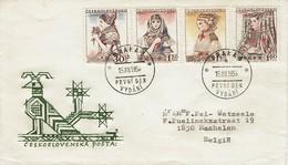 Tschechoslowakei Czechoslovakia CSSR 1957 - Trachten - MiNr 994-997 FDC - Kostüme