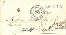 1831- Lettre De TOURNAY  Pour Beaune - L.P.B.1.R. Noir + PAYS-BAS /PAR / LILLE  Noir  Taxe 17 D - 1830-1849 (Belgique Indépendante)