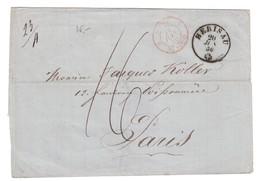"""1856 - CACHET MARQUE D'ENTRÉE CAD ROUGE """" SUISSE / ST LOUIS """" Sur LETTRE (INCOMPLETE) De HERISAU Pour PARIS - Postmark Collection (Covers)"""