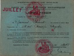 LAISSEZ PASSER VISITE MAJESTES BRITANNIQUES PARIS JUILLET 1938 CHAMPS ELYSEES - Tickets - Vouchers
