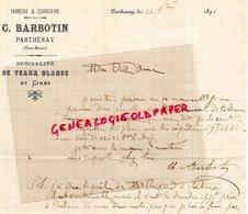 79- PARTHENAY - RARE LETTRE MANUSCRITE SIGNEE C. BARBOTIN- MEGISSERIE TANNERIE CORROIERIE-1898 - France