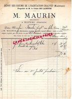16- RUFFEC-1891 RARE FACTURE M. MAURIN REGISSEUR DEPOT RHUM RHUMS HABITATION CHALVET-MARTINIQUE COMTE DE LAMETH - France