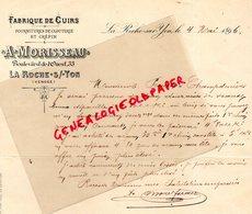 85- LA ROCHE SUR YON- RARE LETTRE MANUSCRITE SIGNEE A. MORISSEAU  - FABRIQUE CUIRS-CLOUTERIE CREPIN-1896 - France