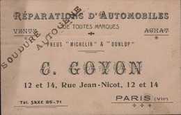 Carte De Visite C Goyon Paris VII E Pneus Michelin Et Dunlop Répartions Automobiles - Cartoncini Da Visita