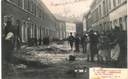 LOUVAIN    Le Cataclysme à Louvain Le  14 Mai 1906 Déblaiement Rue Des Chevaliers. - Tienen