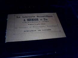 Publicité Caete De Visite Librairie Scientifique Hermann Et  Fils A Paris Rue De La Sorbonne - Cartes De Visite