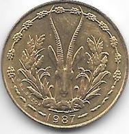 *west African States  5 Francs 1987  Km 2a Unc - Monnaies