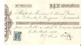 RECU De 180 Frs TP. N° 194 Servant De Timbre Fiscal Avec Date Et Signature En 1925 à Vellereille Bayeux - 1922-1927 Houyoux