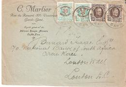Lettre De GAND 2  TP. 196(2)-237(2)(INONDATIONS) Du 15/3/1926 Vers Londres - 1922-1927 Houyoux