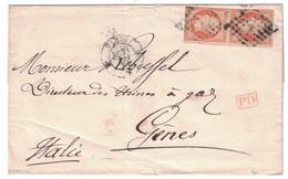 1862 - LETTRE LSC Pour GENES ITALIE Avec AFFRANCHISSEMENT À 80c 2 X NAPOLEON 40c OBLITERATION CAD PARIS K GRAND LOGEMENT - Marcofilie (Brieven)