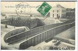 Cpa 44 Saint Nazaire , écluses Et Pont Tournant , Voyagée 1913 Cachet Convoyeur Le Croisic à Nantes - Saint Nazaire