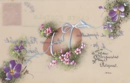 ¤¤  -   Cartes Fantaisie En Célluloïde   -  Joyeuses Pâques  -  Oeufs , Fleurs  -  ¤¤ - Pâques