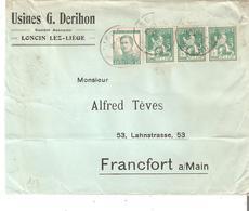 Lettre Pesante TP. N° 110(3)-121 De LONCIN Obl. LIEGE V/Francfort; Bon Affranch. Avec Le 40c. - 1912 Pellens