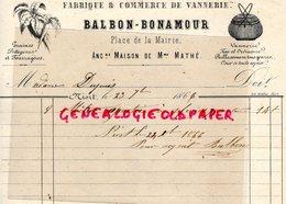 79- NIORT - RARE FACTURE BALBON- BONAMOUR-FABRIQUE COMMERCE VANNERIE-VANNIER- PLACE MAIRIE-1866 OSIER - France