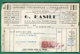 86 Poitiers Basile Imprimerie Typographique Et Lithographique Fabrique De Sacs En Papier Et Boites Pliantes - Imprimerie & Papeterie