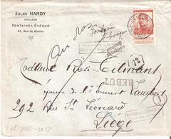Lettre REBUT TP. N° 123 Du 6/7/1914 De FONTAINE L'EVEQUE V/LIEGE - 1912 Pellens