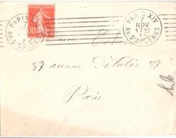 3104 PARIS XIV Av D'ORLEANS Lettre 10c Semeuse Yv 138 Ob Méca Dreyfus A14102 Krag - Postmark Collection (Covers)