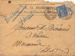 Enveloppe à Entête Emaux Français Sur GLace Verre Et Cristal A.G. Robin, Sage 15c Oblit. Limoges 1888 - Marcofilia (sobres)
