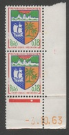 FRANCE 1962 - 1965   ARMOIRIES SAINT-DENIS REUNION  N°YT 1354A  ** Paire + Coin Daté 31.10.63  / MNH - Frankrijk