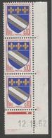 FRANCE 1962 - 1965   ARMOIRIES TROYES  N°YT 1353  ** Triplet + Coin Daté 12.11.62  / MNH - Frankrijk
