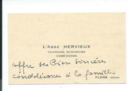 CARTE De VISITE.. L'Abbé HERVIEUX, Chanoine Honoraire, Curé-Doyen à FLERS (61) - Cartes De Visite