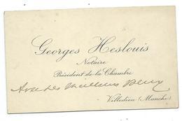CARTE De VISITE.. Georges HESLOUIS, Notaire à  VILLEDIEU (50) - Cartes De Visite