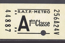 Tiket R.A.T.P. - METRO . A 1° Classe . Rare . - Publicidad