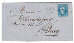 """1863 - OBLITERATION AMBULANT """" FORBACH À PARIS C """" + LOSANGE FP Sur NAPOLEON 22 LETTRE LAC De METZ Pour BRIEY - Postmark Collection (Covers)"""