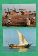 Bahrain Bahrein Gulf Sailing + Fishermen Mending Nets Lot 2 Cartes Postales ( Post Cards ) - Bahrain