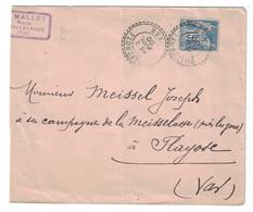 1900 - BELLE FRAPPE DU CAD De FACTEUR-BOITIER De VILLECROZE VAR SUR ENVELOPPE SAGE 15c Pour FLAYOSC - Poststempel (Briefe)