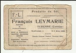 """19 . TURENNE .   CARTE DE VISITE DE """" FRANCOIS LEYMARIE """" SPECIALISTE DE FRUITS ET PRIMEURS - Cartes De Visite"""
