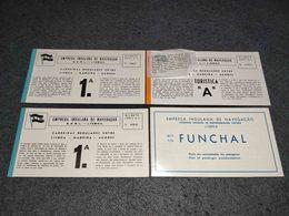 """RARE ANTIQUE LOT X3 TICKETS AND PLAN BROCHURE OF EMPRESA INSULANA DE NAVEGAÇÃO PORTUGAL CRUISER """" PAQUETE FUNCHAL"""" 1964 - Tickets D'entrée"""