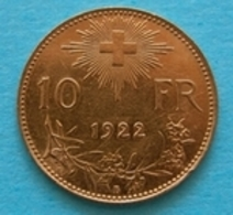10 Franchi  1922  Gold  Coin  Swiss - Switzerland