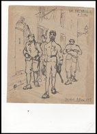 DESSIN   MILITAIRE DE  MICHEL  ALLORI   1917              LA  PATROUILLE   A TOULON - Documents