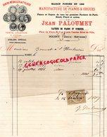 79- NIORT - RARE FACTURE 1884- JEAN PALOUMET-MANUFACTURE PIANOS ET ORGUES-ERARD-PLEYEL-PIANO ORGUE-7 PLACE PILORI- - France