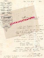 79- NIORT - RARE FACTURE 1872- JEAN PALOUMET- MAISON STOEPEL-MANUFACTURE PIANOS ET ORGUES -PIANO ORGUE-7 PLACE PILORI- - France
