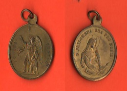 Medaglia Religiosa Angelo Custode E Santa Philomena  Religion Medal Mèdaille - Religione & Esoterismo