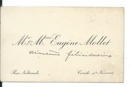 CARTE De VISITE.. Mr Et Mme Eugène MOLLET, Rue Nationale, CONDE Sur NOIREAU (CALVADOS 14) - Cartes De Visite