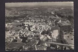 CPSM 07 - LANAS - Vue Générale Aérienne - Le Pont Et Vallée De L'Ardèche - Au Fond , Viaduc De Voguë Et Le Château 1952 - Autres Communes