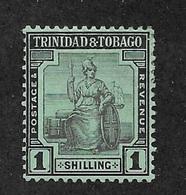 Trinidad & Tobago 1913,1sh Scott # 7b,VF Mint Hinged*OG ,Nice Color !! (SP-3) - Trinidad & Tobago (...-1961)