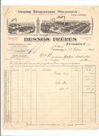 FACTURE   BRIQUETERIE MECANIQUE - Cuisson Au Gaz FOUR A CHAUX . DESNOS ECOMMOY - (1925) - France